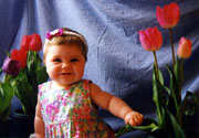Toddler with Tulips